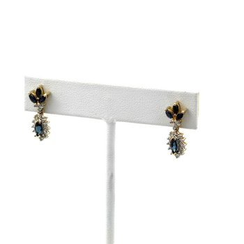 14K WHITE GOLD 1.76 CTW MARQUISE BLUE SAPPHIRE DIAMOND DROP EARRINGS #957B-1