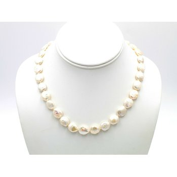 14K YELLOW GOLD CLASP 17 INCH FRESHWATER COIN PEARL NECKLACE STRAND NR #1094B