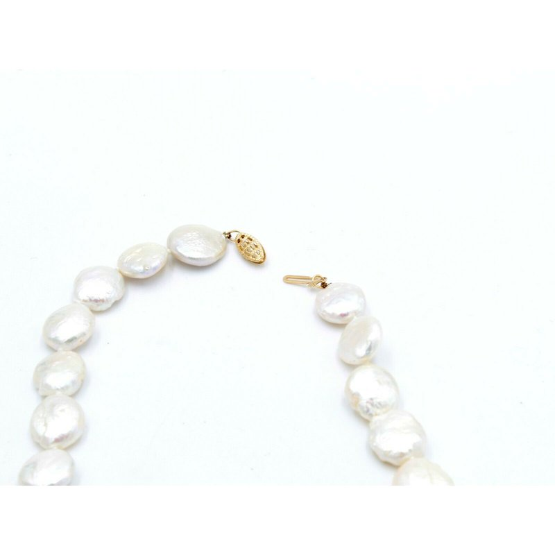 Unbranded 14K YELLOW GOLD CLASP 17 INCH FRESHWATER COIN PEARL NECKLACE STRAND NR #1094B