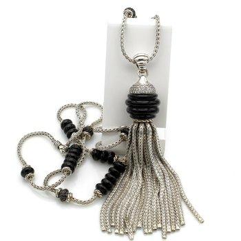 JOHN HARDY STERLING SILVER DIAMOND LAVA WHEAT NECKLACE ENHANCER TASSEL #D535-3