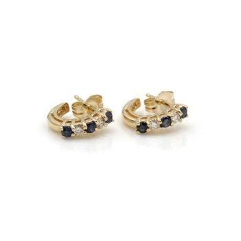 14K YELLOW GOLD .42 CTW ROUND DIAMOND SAPPHIRE PETITE HALF HOOP EARRINGS #JB46-3