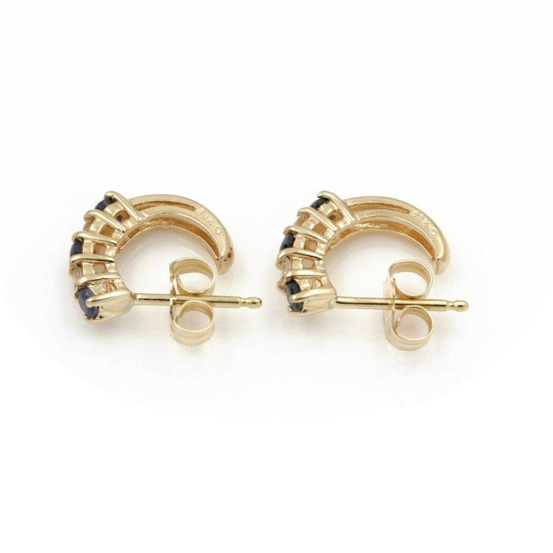 National Rarities 14K YELLOW GOLD .42 CTW ROUND DIAMOND SAPPHIRE PETITE HALF HOOP EARRINGS #JB46-3