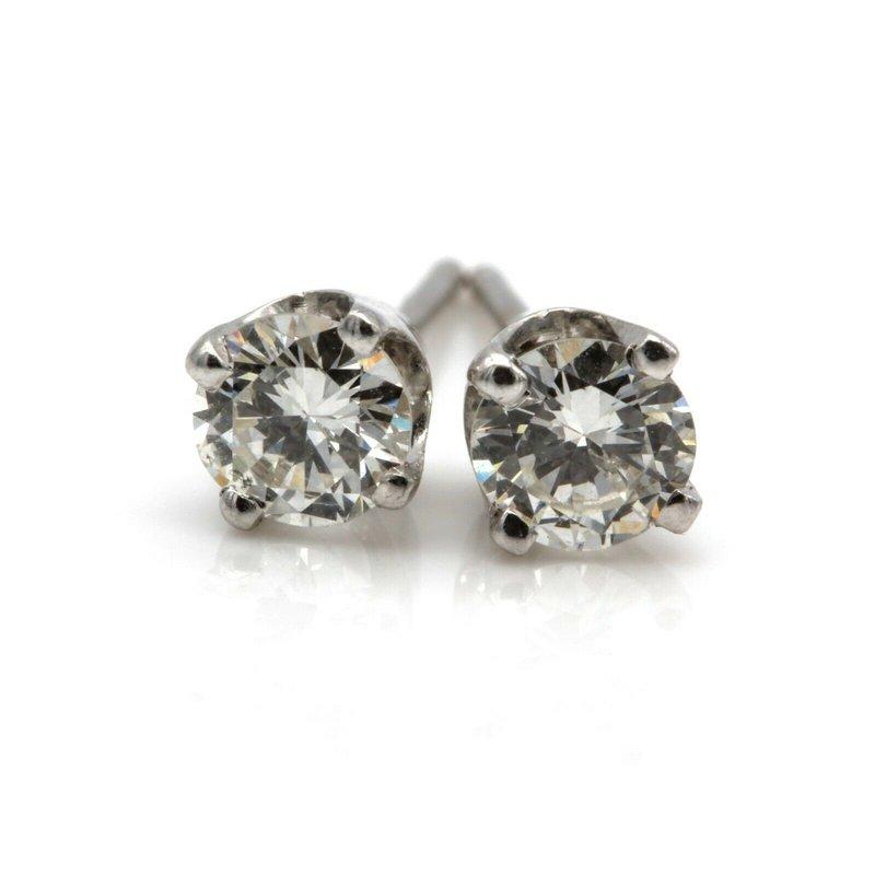 National Rarities VINTAGE 14K WHITE GOLD ROUND BRILLIANT CUT DIAMOND STUD EARRINGS 0.5 CTW JB23-6
