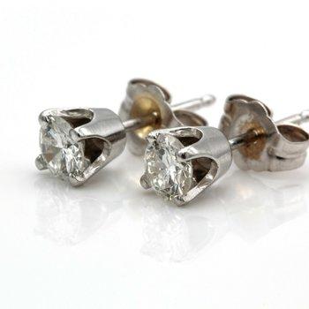 VINTAGE 14K WHITE GOLD ROUND BRILLIANT CUT DIAMOND STUD EARRINGS 0.5 CTW JB23-6