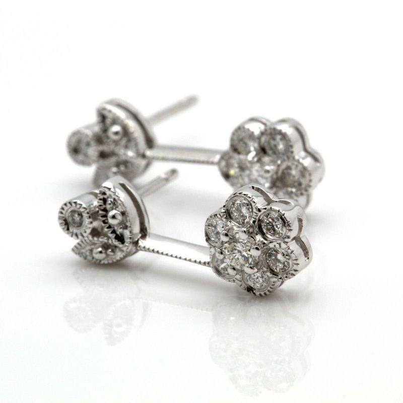 National Rarities 14K WHITE GOLD FLOWER DESIGN DIAMOND STUDDED DROP/DANGLE EARRINGS #J8-10