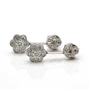 14K WHITE GOLD FLOWER DESIGN DIAMOND STUDDED DROP/DANGLE EARRINGS #J8-10