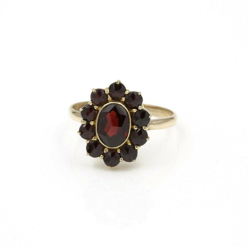 National Rarities 10K YELLOW GOLD BOHEMIAN OVAL GARNET RING MID CENTURY REVIVAL STYLE RED 1034B-3
