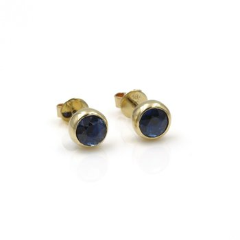 VINTAGE 14K SOLID GOLD 1.60 CTW ROUND BEZEL SET SAPPHIRE STUD EARRINGS #986B-10
