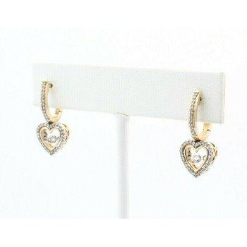 10K SOLID GOLD 0.50CTW DIAMOND HEART DROP EARRINGS W/ SHIMMERING DIAMONDS #J7-10