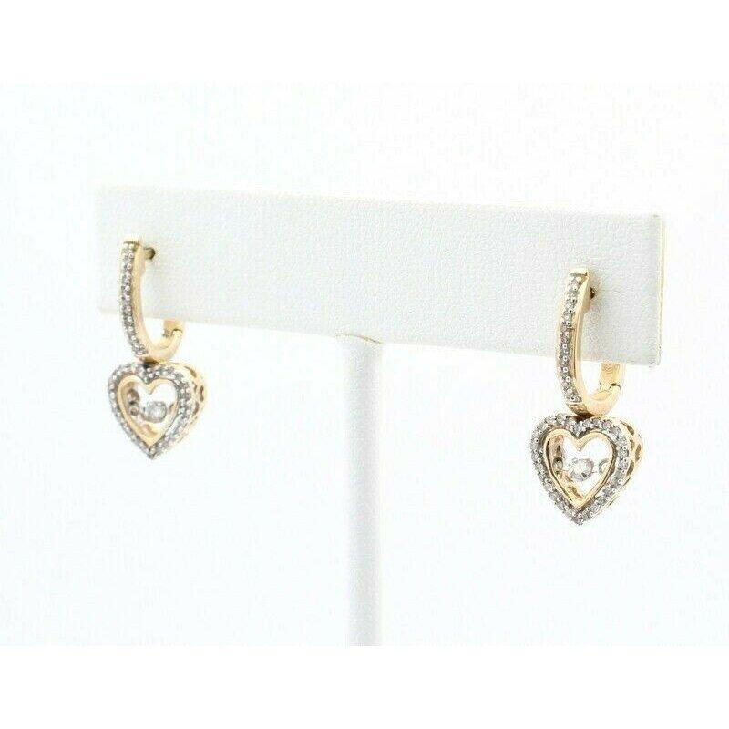National Rarities 10K SOLID GOLD 0.50CTW DIAMOND HEART DROP EARRINGS W/ SHIMMERING DIAMONDS #J7-10