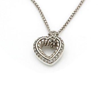 "DAVID YURMAN DIAMOND CABLE HEART STERLING SILVER DESIGNER NECKLACE 18""  D26-10"