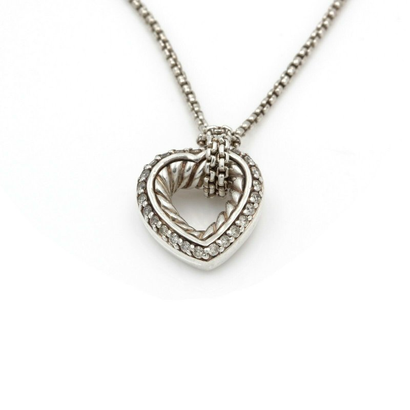"David Yurman DAVID YURMAN DIAMOND CABLE HEART STERLING SILVER DESIGNER NECKLACE 18""  D26-10"