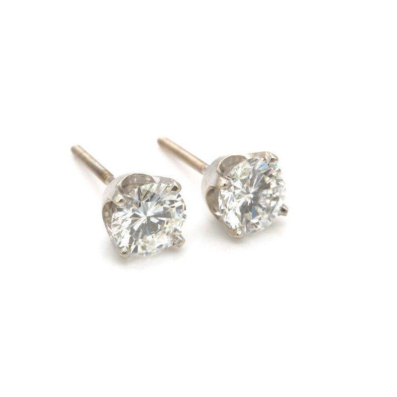National Rarities 14K WHITE GOLD 1.60 CTW BEAUTIFUL ROUND DIAMOND STUD SCREW BACK EARRINGS #J962-6