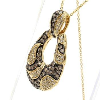 LEVIAN 14K YELLOW GOLD CHOCOLATIER DIAMOND LOOP PENDANT 18 IN. NECKLACE #D1527-1