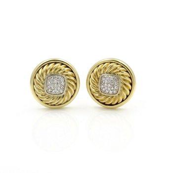 DESIGNER DAVID YURMAN 18K GOLD .42 CTW DIAMOND ALBION CABLE EARRINGS OMEGA D14-3