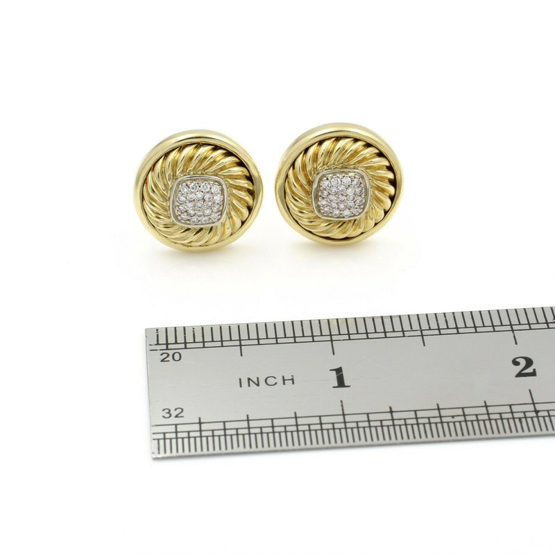 Designer DESIGNER DAVID YURMAN 18K GOLD .42 CTW DIAMOND ALBION CABLE EARRINGS OMEGA D14-3