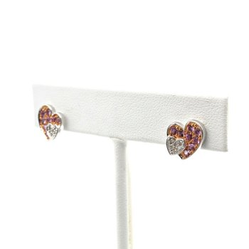 14K WHITE GOLD PINK SAPPHIRE & DIAMOND PAVE DOUBLE HEART STUD EARRINGS #1010B-8