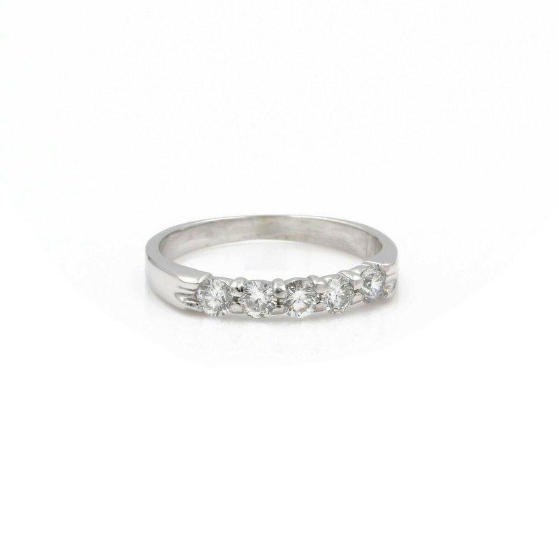 National Rarities 14K WHITE GOLD ROUND BRILLIANT CUT DIAMOND SHARED PRONG RING SIZE 6.50 #JB39-6