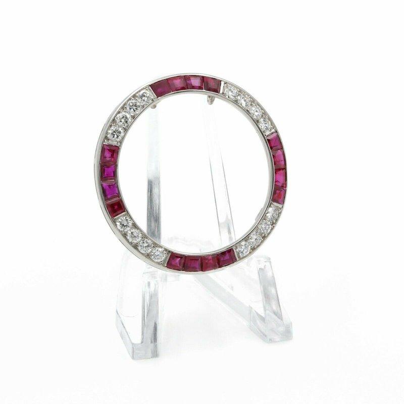 National Rarities PLATINUM CIRCLE ETERNITY ROUND BRILLIANT DIAMOND & RUBY PENDANT 4.3 CTW J1338-4