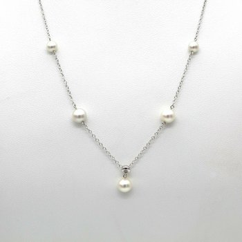 14K WHITE GOLD CULTURED AKOYA PEARL DIAMOND ACCENT NECKLACE 18 INCH #1088B-4