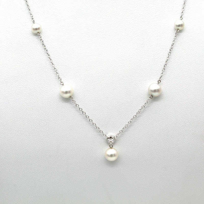 Pearl 14K WHITE GOLD CULTURED AKOYA PEARL DIAMOND ACCENT NECKLACE 18 INCH #1088B-4
