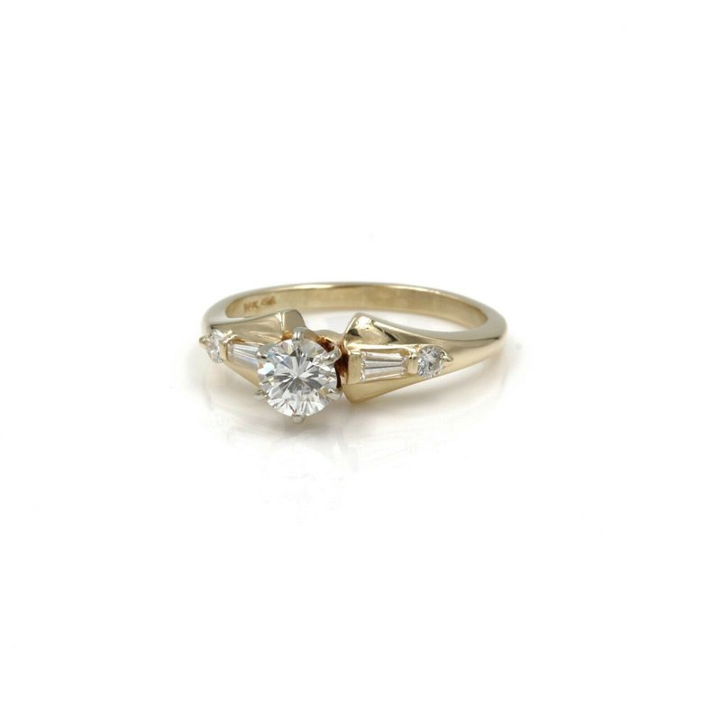 National Rarities 14k YELLOW GOLD .50 CT ROUND BRILLIANT DIAMOND RING BAGUETTE SIZE 6.5  #1007B-2