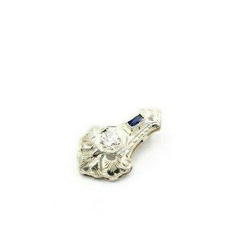14K WHITE GOLD ART DECO 0.22 CTW OLD EUROPEAN DIAMOND & SAPPHIRE PENDANT J4-4