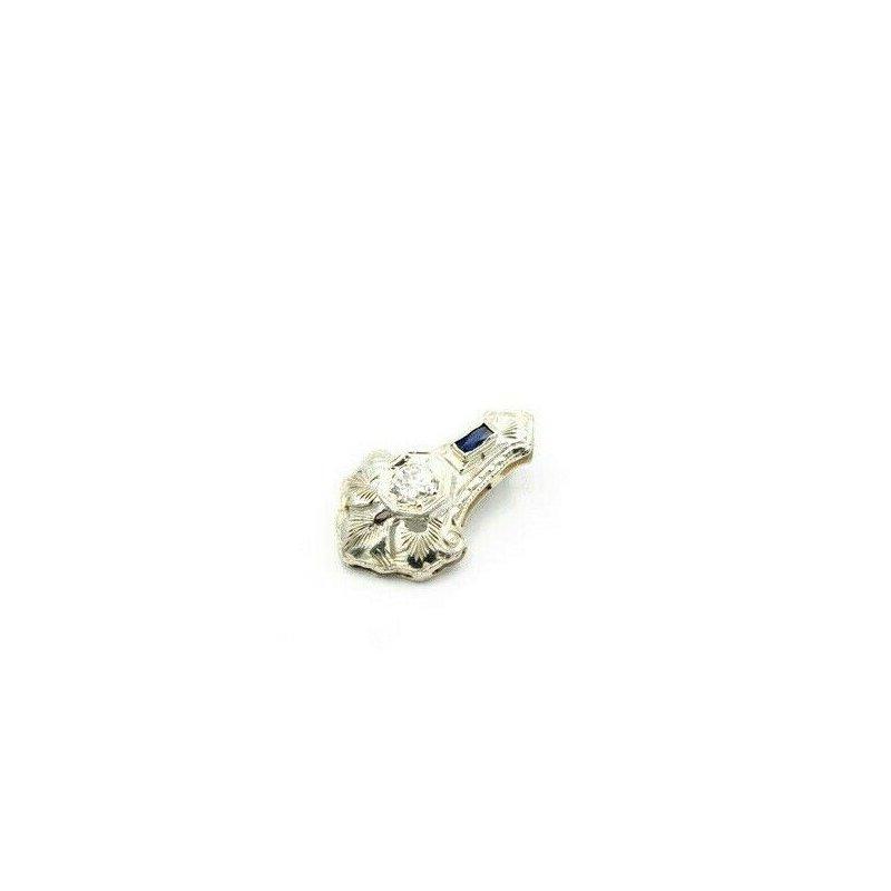 National Rarities 14K WHITE GOLD ART DECO 0.22 CTW OLD EUROPEAN DIAMOND & SAPPHIRE PENDANT J4-4