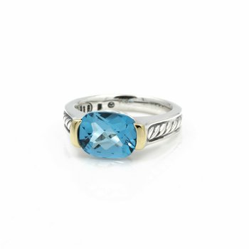 DAVID YURMAN CABLE COCKTAIL RING STERLING 18K GOLD 3.5 CT TOPAZ SIZE 6 #D13-8
