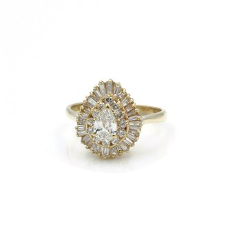 14K SOLID GOLD 1.52 CTW DIAMOND PEAR SHAPED CLUSTER HALO RING SIZE 8.25 #J2-10