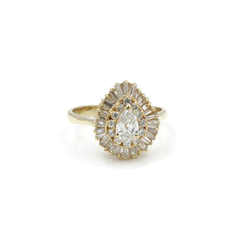 Halo 14K SOLID GOLD 1.52 CTW DIAMOND PEAR SHAPED CLUSTER HALO RING SIZE 8.25 #J2-10
