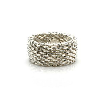 TIFFANY & CO. STERLING SILVER SOMERSET MESH WEAVE 10MM BAND RING S.6.5 #1106B-3