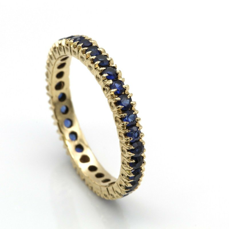 Unbranded 14K YELLOW GOLD ROUND BLUE SAPPHIRE PRONG SET ETERNITY BAND SIZE 7.5 #1088B-3