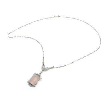VINTAGE 10K WHITE GOLD RECTANGULAR ROSE QUARTZ CABOCHON PENDANT NECKLACE #J5-1