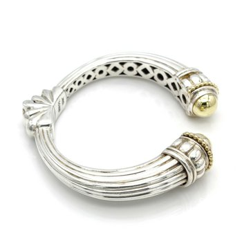 LAGOS STERLING SILVER 14K YELLOW GOLD CAVIER DOME HINGED CUFF BRACELET #DB-8