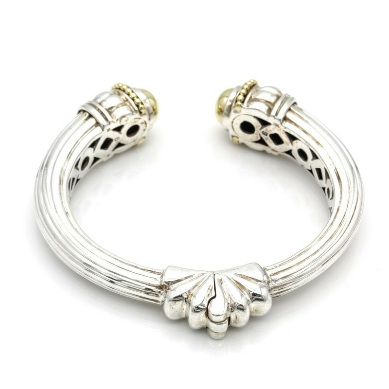 Lagos LAGOS STERLING SILVER 14K YELLOW GOLD CAVIER DOME HINGED CUFF BRACELET #DB-8
