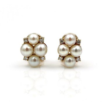14K SOLID GOLD STUNNING PEARL & 0.28 CTW DIAMOND CLUSTER STUD EARRINGS #958B-3
