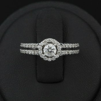 14K SPLENDID WHITE GOLD HALO DIAMOND ENGAGEMENT RING .60 CTW #968B-7