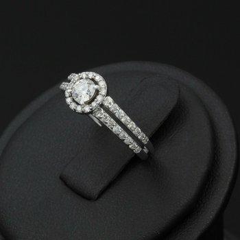14K SPLENDID WHITE GOLD HALO DIAMOND ENGAGEMENT RING .60 CTW #968B-7