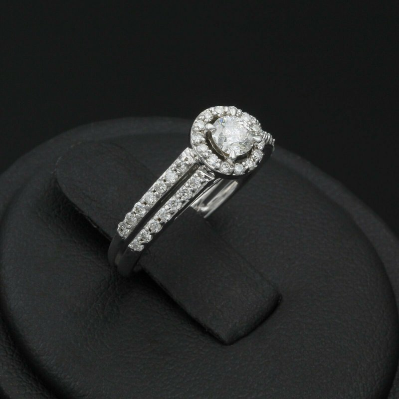 National Rarities 14K SPLENDID WHITE GOLD HALO DIAMOND ENGAGEMENT RING .60 CTW #968B-7