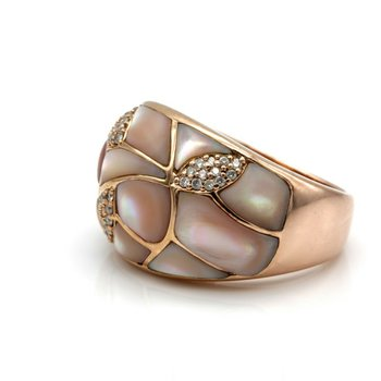 ASHER 14K ROSE GOLD PINK MOTHER OF PEARL INLAY DIAMOND ACCENT RING #D7-1
