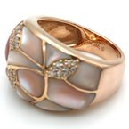 Asher ASHER 14K ROSE GOLD PINK MOTHER OF PEARL INLAY DIAMOND ACCENT RING #D7-1