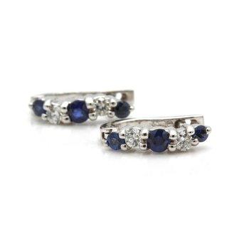 14K WHITE GOLD ROUND BLUE SAPPHIRE DIAMOND PRONG SET HUGGIE EARRINGS #J8-5
