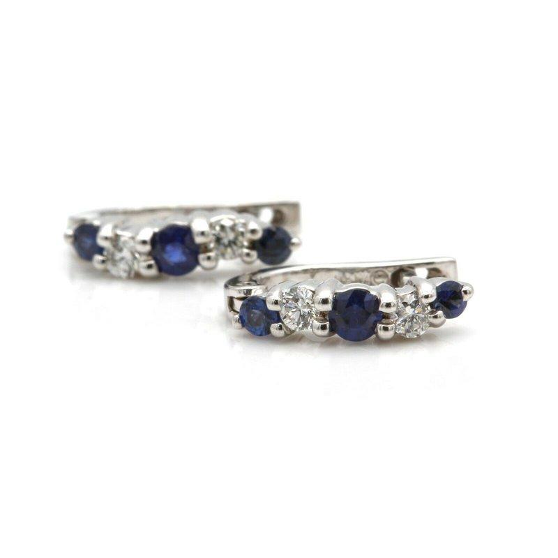 Unbranded 14K WHITE GOLD ROUND BLUE SAPPHIRE DIAMOND PRONG SET HUGGIE EARRINGS #J8-5