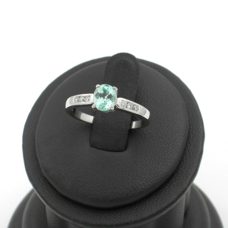 Unbranded 18K WHITE GOLD OVAL GREEN APATITE DIAMOND ACCENT COCKTAIL RING SIZE 7 #JB74-10