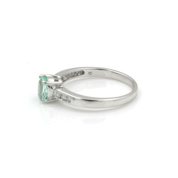 18K WHITE GOLD OVAL GREEN APATITE DIAMOND ACCENT COCKTAIL RING SIZE 7 #JB74-10