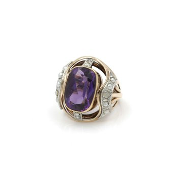 14K YELLOW GOLD VINTAGE 6.78 CWT AQUAMARINE DIAMOND COCKTAIL RING SIZE 4.5 #J791