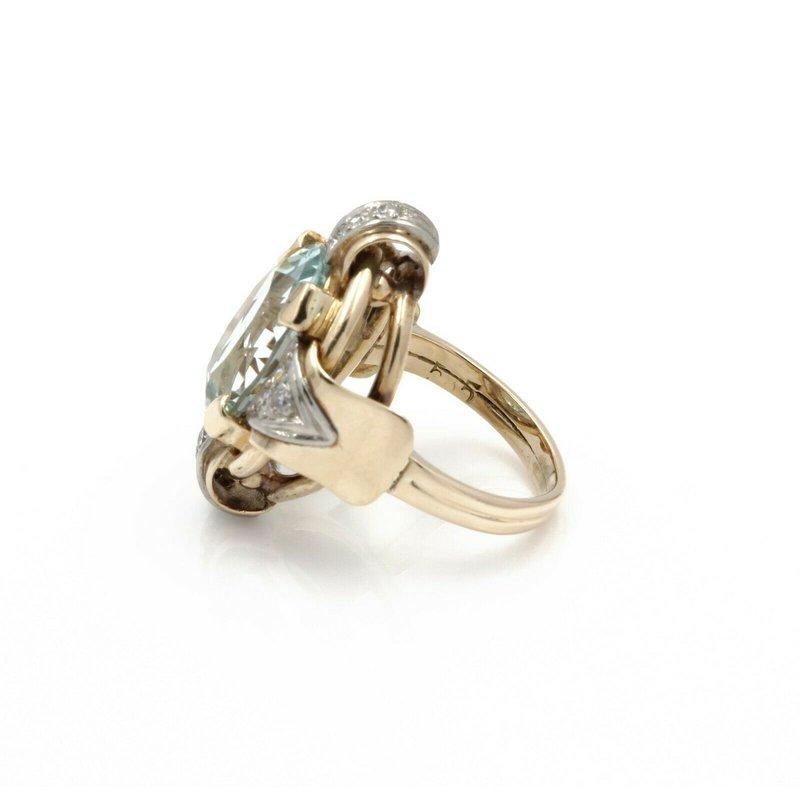 National Rarities 14K YELLOW GOLD VINTAGE 6.78 CWT AQUAMARINE DIAMOND COCKTAIL RING SIZE 4.5 #J791