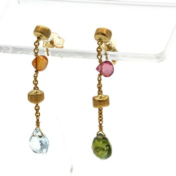 MARCO BICEGO 18K GOLD PARADISE COLLECTION MIXED GEMSTONE DROP EARRINGS #1103B