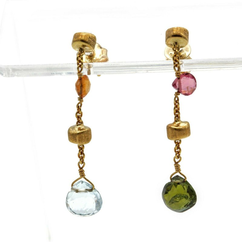 Marco Bicego MARCO BICEGO 18K GOLD PARADISE COLLECTION MIXED GEMSTONE DROP EARRINGS #1103B